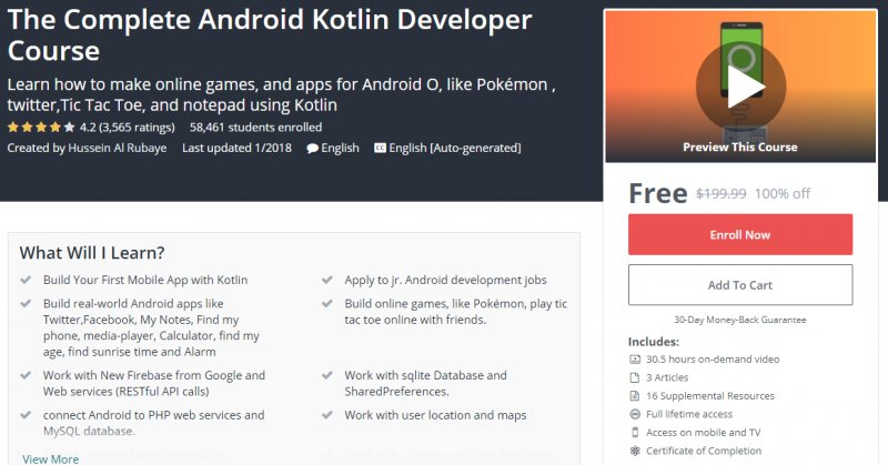 100% Off] The Complete Android Kotlin Developer Course| Worth 199,99