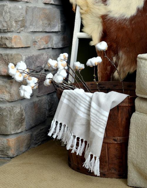 how to make a farmhouse cotton stem with pistachio shells