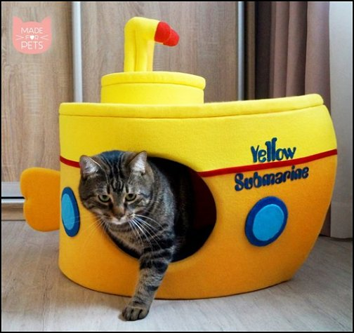 Yellow Submarine cat house   pet gift ideas - gifts for pets - gifts for dogs - gifts for cats - creative gifts for animal lovers‎ - gifts for pet owners pet stuff - cool stuff to buy - pet supplies - pet cookie jars - dog throw pillows - dog themed bedding - cat throw pillows - paw pillows - gifts for cat loving friends - gifts for dog loving friends - pet beds