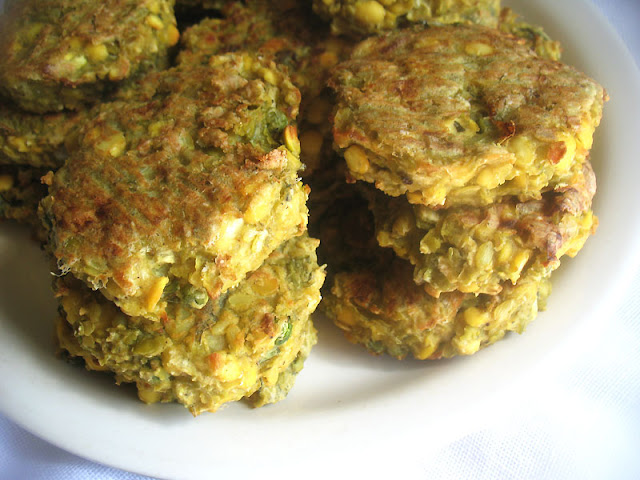 Savory Sage Green and Yellow Split Pea Rice Patties