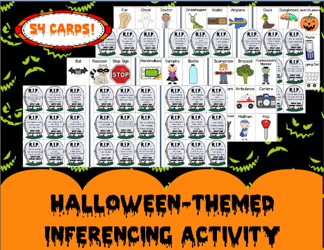 http://www.teacherspayteachers.com/Product/Halloween-themed-Inferencing-Activity-Guess-the-mystery-item-Speech-therapy-1388927