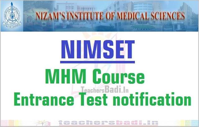 NIMSET,MHM Course,Entrance Test 2016 notification
