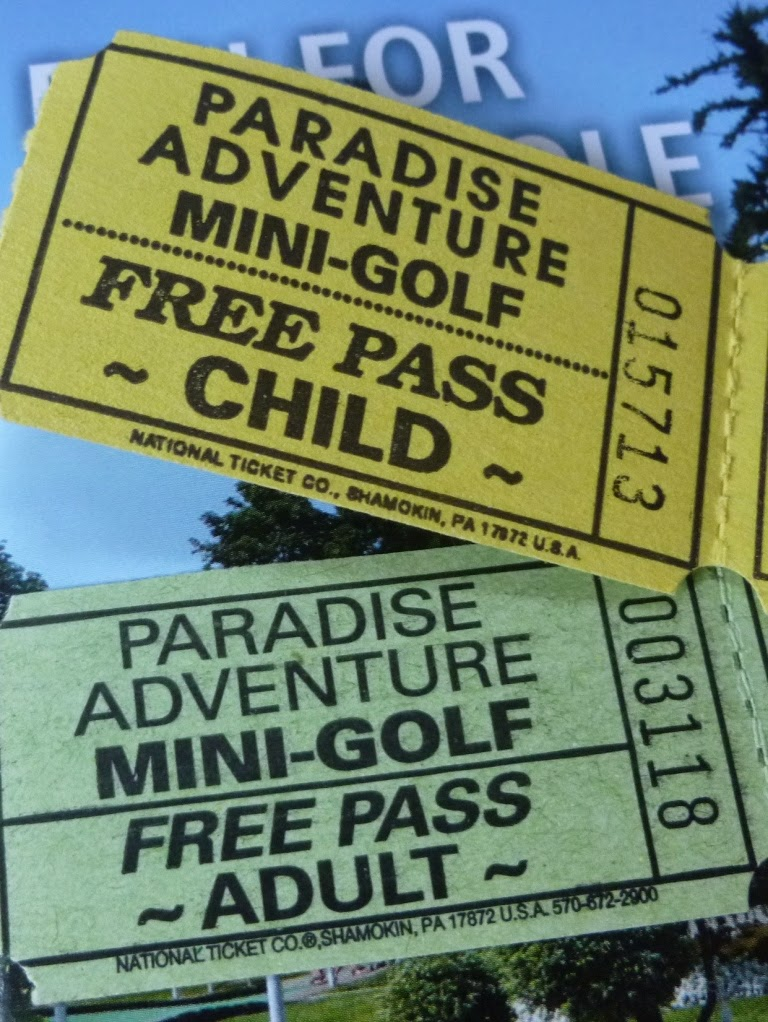Two lovely pieces of minigolf ephemera - Free Game Passes at Paradise Fun Park on Vancouver Island, British Columbia