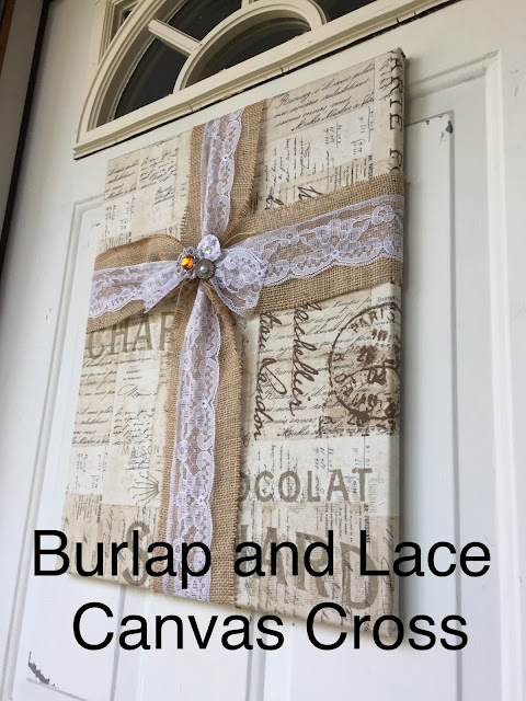 Canvas Burlap and Lace Cross