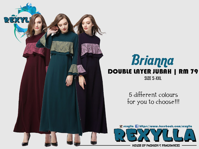 rexylla, double layer jubah, lace cut, brianna collection