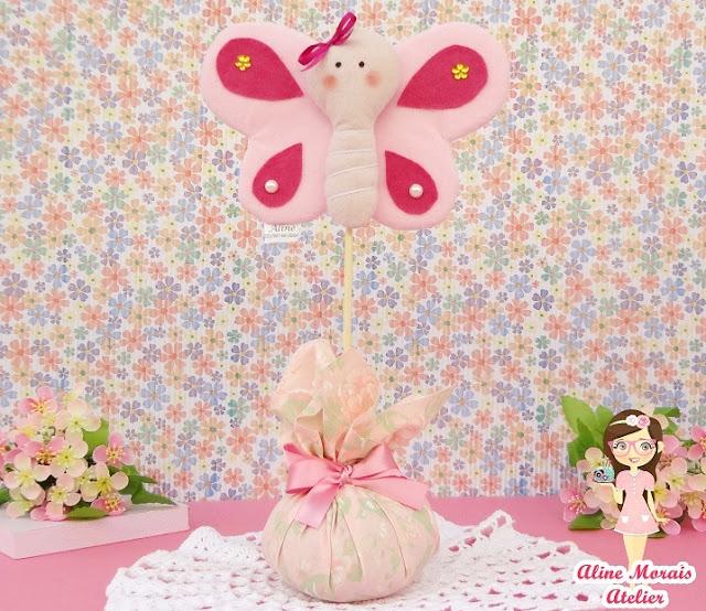 centro de mesa borboleta jardim encantado de feltro