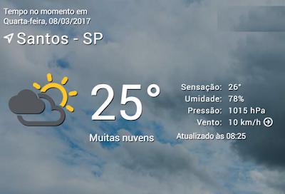Previsão do Tempo em Santos|SP no dia