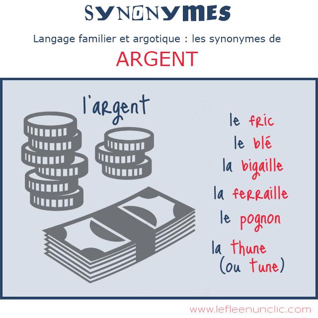 """langage familier et agortique, les synonymes de """"argent"""", FLE, vocabulaire, le FLE en un 'clic'"""