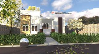 Modern two bedroom bungalow exterior daytime scene render