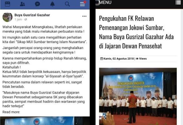 Fitnah Keji! Namanya Dicatut Relawan Pemenangan Jokowi, Ketua MUI Sumbar Sebut Perbuatan Nista