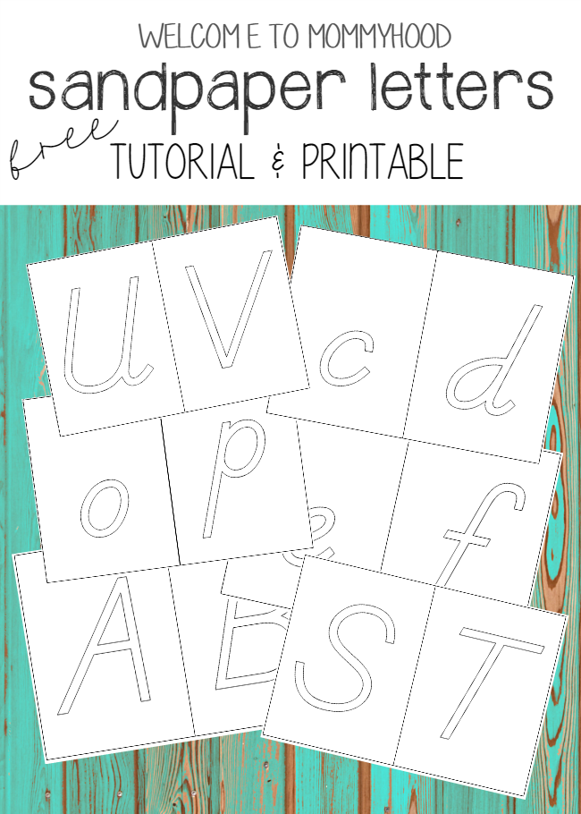 Free Sandpaper Letter Printables by Welcome to Mommyhood #montessori, #preschool, #printables, #freeprintables, #montessoritutorial