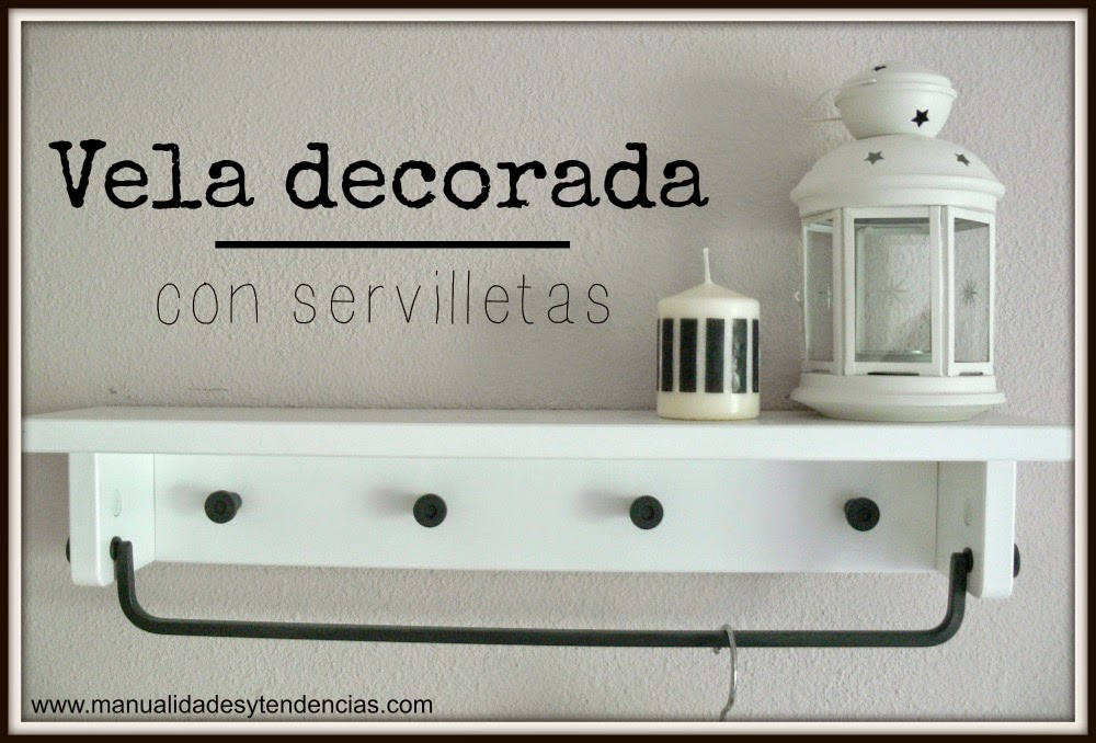 vela decorada con servilletas