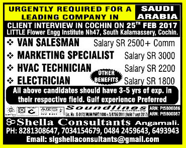 Jobs in Saudi Arabia at Shella Consultants