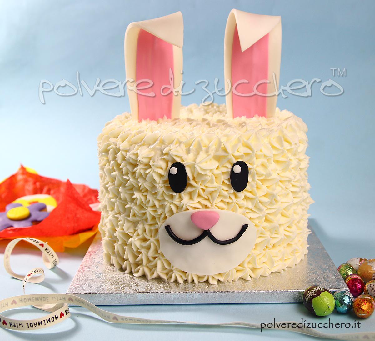 torta decorata pasqua pasta di zucchero cake design bunny easter polvere di zucchero idea