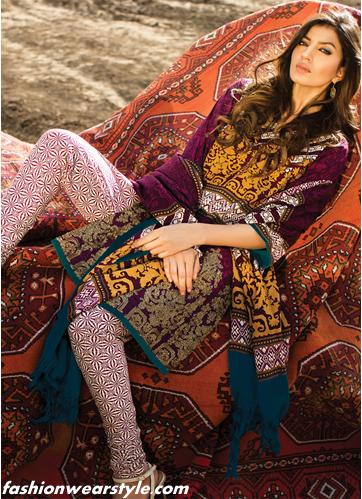 Sana Safinaz Extravagant Flowery Winter Dresses www.fashionwearstyle.com