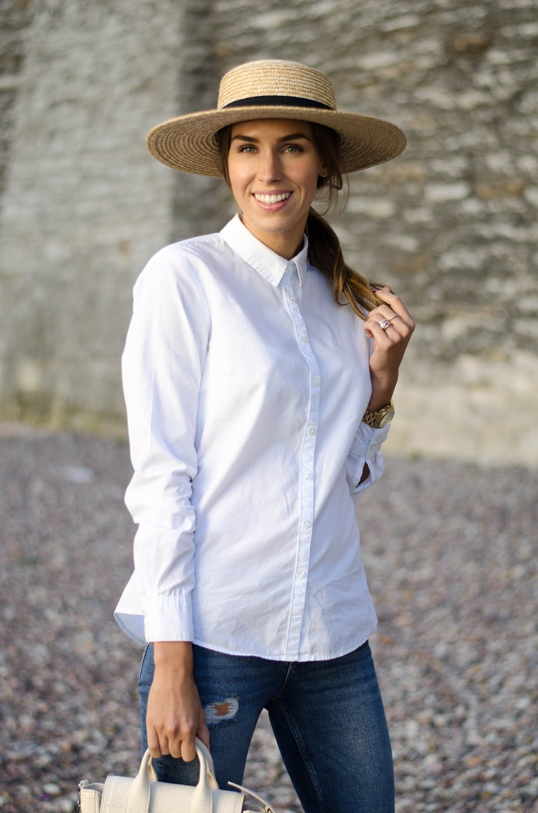 kristjaana mere straw hat outfit