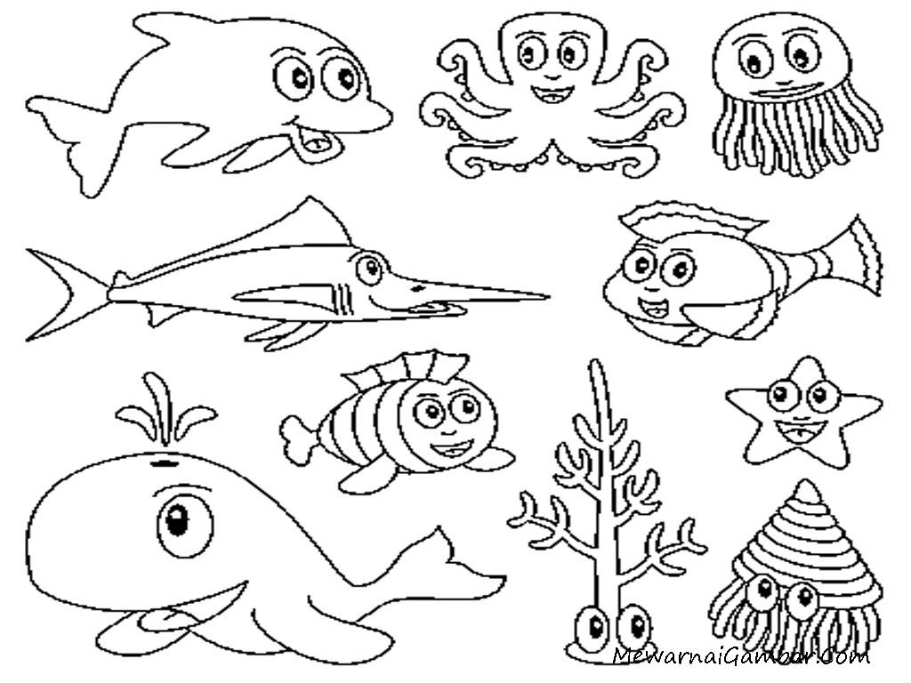 Mewarnai Gambar Ikan Dan Binatang Laut