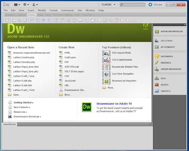 Tampilan Software Dreamweaver CS5