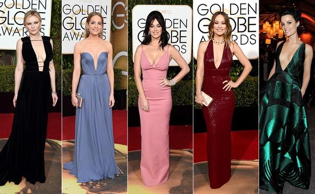 As mais decotadas do Globo de Ouro 2016: Kirsten Dunst, Joanne Froggatt, Katy Perry, Olivia Wilde e Jaime Alexander (Foto: AFP)