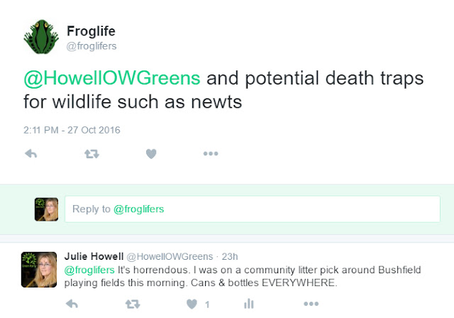 Froglife says discarded bottles are death traps for newts