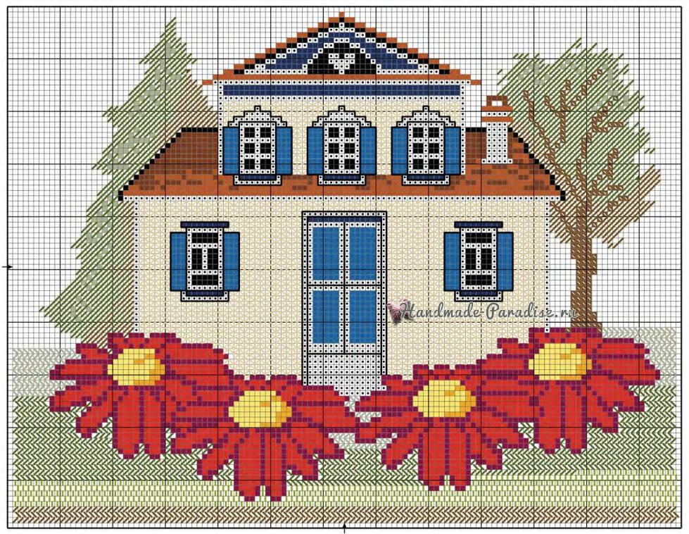 Схема вышивки домика для подушки (1)