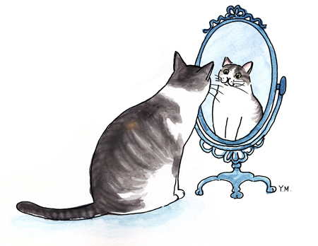 Cat looking at herself in a mirror by Yukié Matsushita