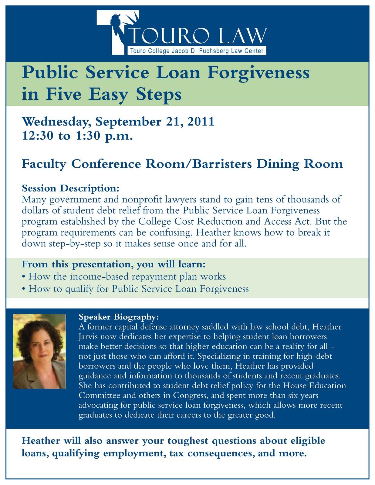 Touro Law CenterCareer Services Office Blog: Program: Public Service Loan Forgiveness in Five ...