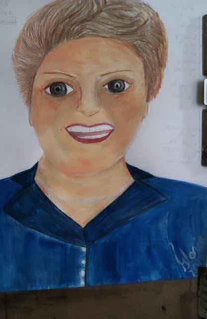 """Brazil's President"" sketch-ethnic series, created by Gloria Poole; Nov 2013; watercolors"