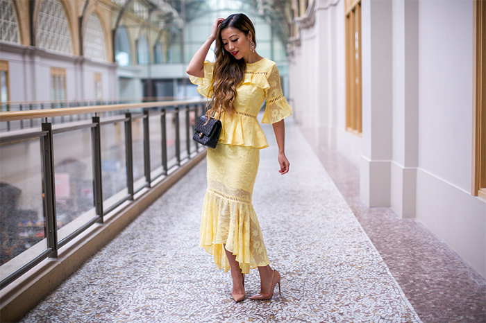 yellow lace maxi dress, maxi dress, yellow lace dress, christian louboutin so kate pumps, kendra scott earrings, chanel classic flap bag, valentines day dress ideas, valentines day outfit ideas, san francisco fashion blog, san francisco street style