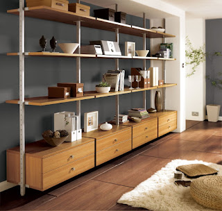 noticeable modular shelving unit for collectable displays mixed with fur rug and wooden floor
