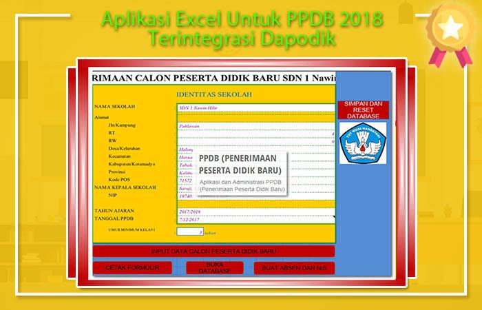 Aplikasi Excel Untuk PPDB 2018 Terintegrasi Dapodik