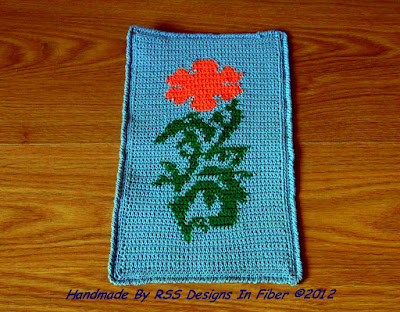 California Poppy Crochet Tapestry - Handmade Crochet By Ruth Sandra Sperling - RSS Designs In Fiber