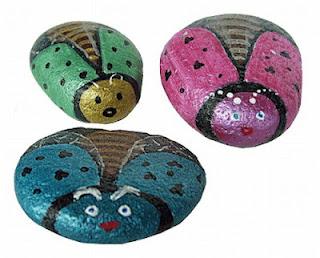 painted rocks, bugs, flying, metallic, rock painting