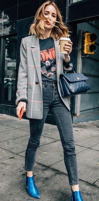 how to style a plaid blazer : printed top + skinny jeans + blue boots + bag