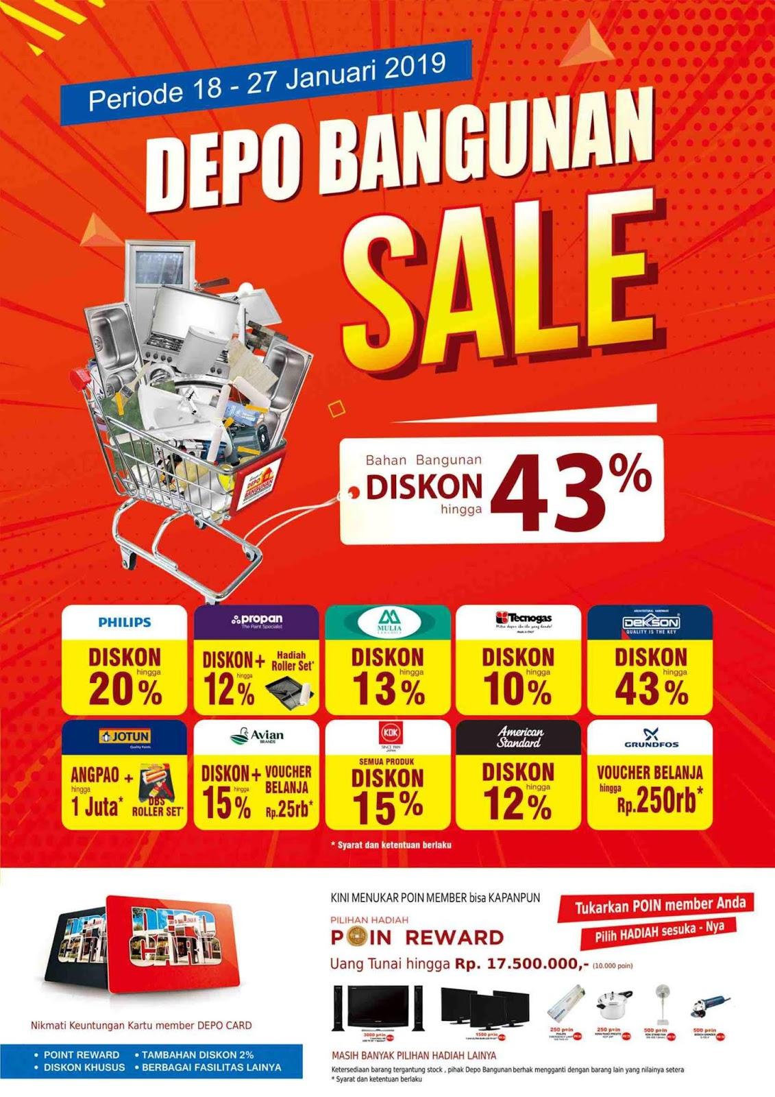 #DepoBangunan - Promo Depo Bangunan Sale s.d 43% Periode 18 - 27 Januari 2019