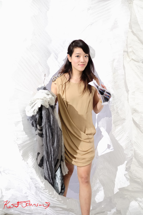 Theresa Nguyen - designer emerges from the paper chamber  - Fashion Runway Show presented in partnership with UTS Fashion Design Department at SCAF