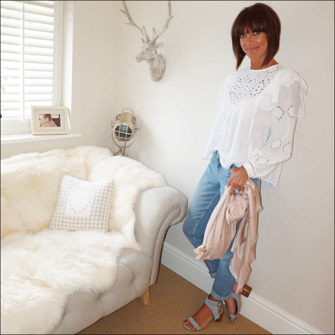 my midlife fashion, h and m embroidered blouse, the white company brompton boyfriend jeans, marks and spencer suede stud block heel sandals, mulberry silk scarf