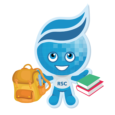 Imge of Rio Salado mascot Splash carrying his backpack and books.