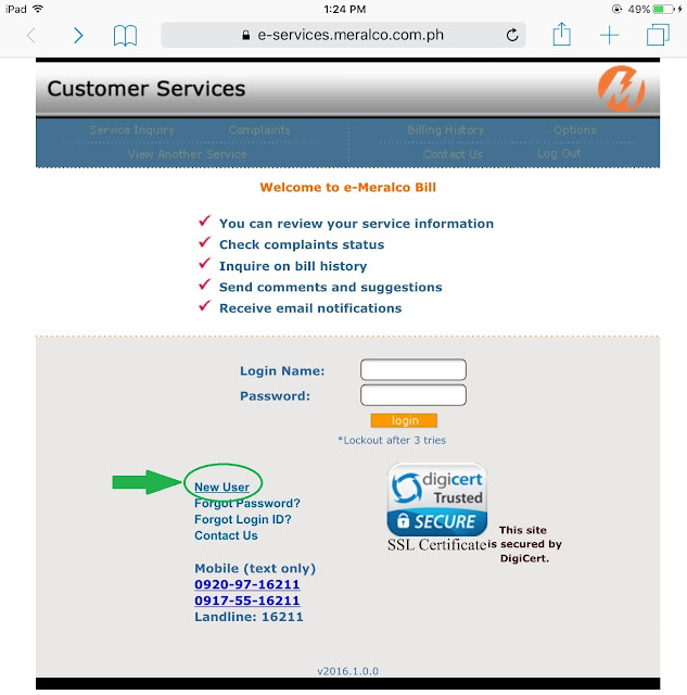 Register to e-Meralco Online