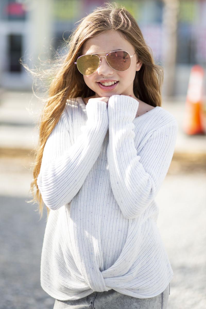 tween girl models design history knot sweater fall 2018