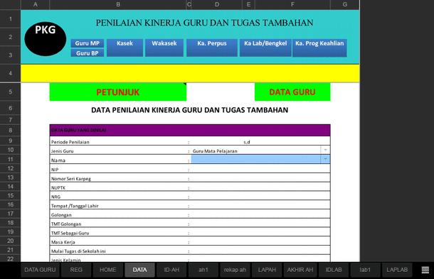 Aplikasi PKG Guru Lengkap Format Microsoft Excel