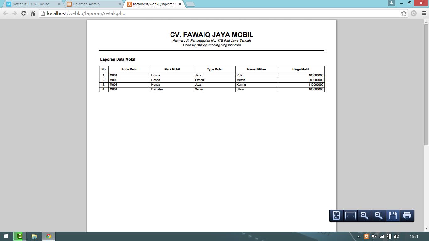 Membuat Report Laporan Pdf Dengan Php Dan Fpdf Yukcoding