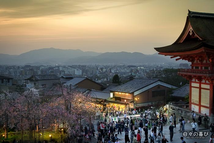 panorama kyoto au crepuscule, kiyomizu dera