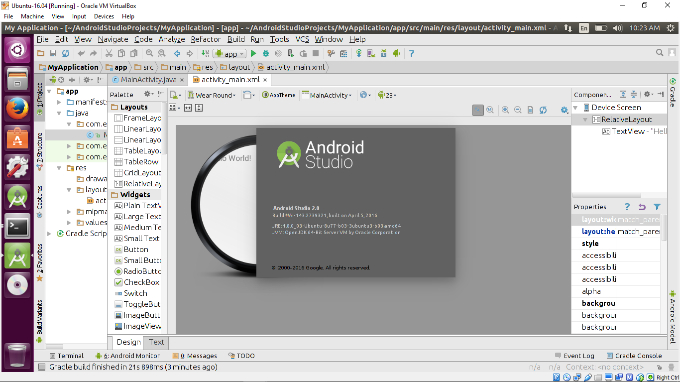 android studio emulator ubuntu 16.04