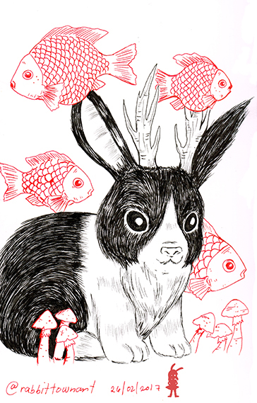 Bunnylope drawn by Marta Tesoro aka Rabbit Town Art