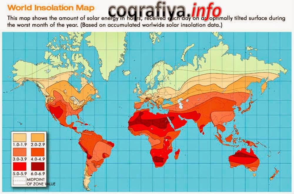 Карта активности солнечной энергии в часах в различных районах земного шара
