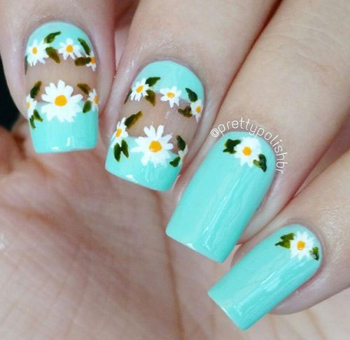 Daisy flower lace with negative space nail art - Easy Spring Nail Art Designs For Everyone