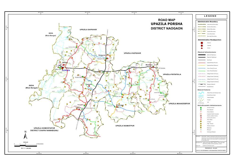 Porsha Upazila Road Map Naogaon District Bangladesh