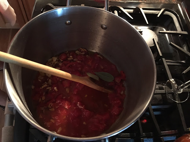 Making sauce for mussels