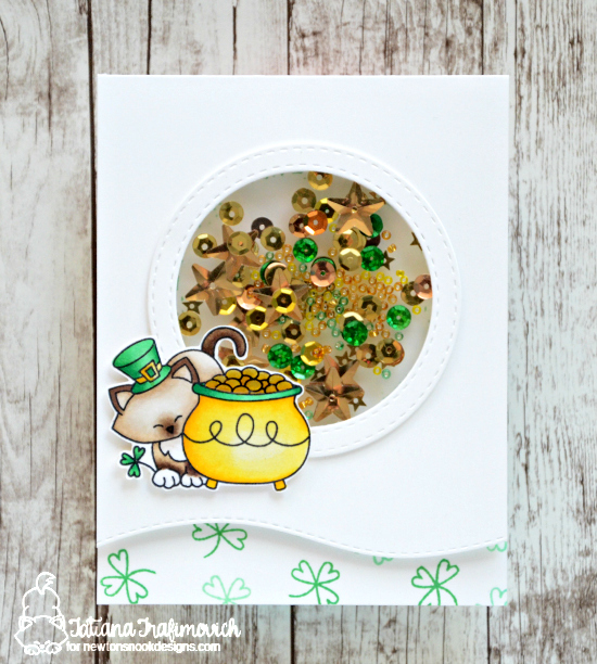 St Patricks Day card with Cat by Tatiana Trafimovich | Newton's Pot of Gold stamp set by Newton's Nook Designs #newtonsnook